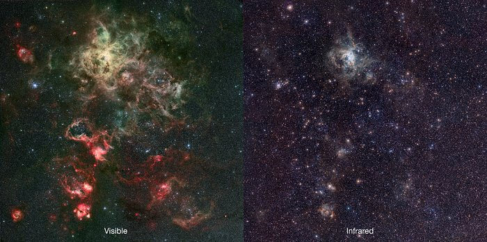 Infrared/visible comparison of the VISTA Tarantula Nebula image