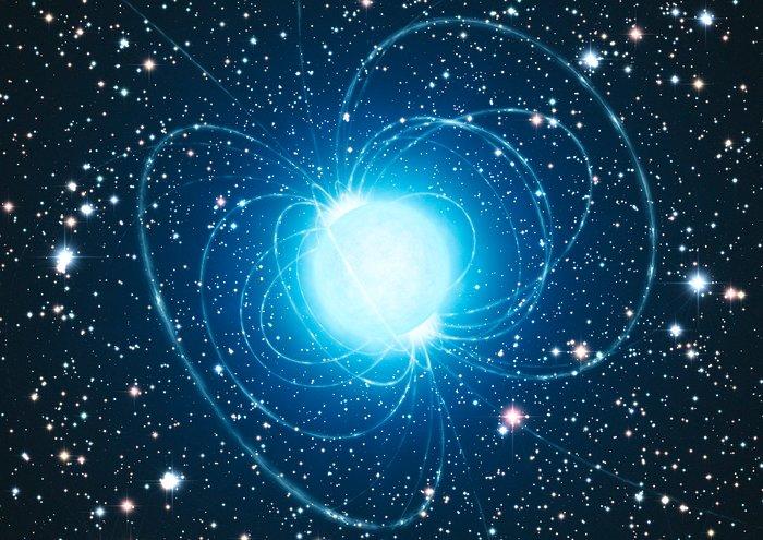 Impresión artística del magnetar en el extraordinario cúmulo estelar Westerlund 1