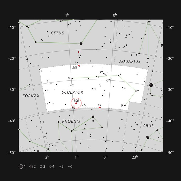 NGC 300 en la constelación del Escultor