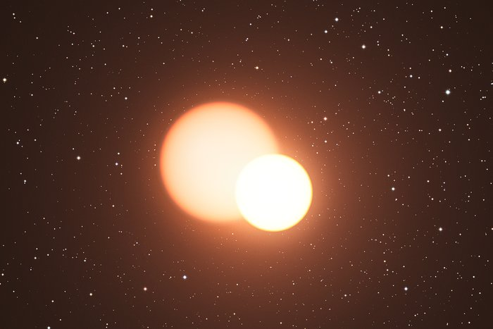 Artist's impression of the remarkable double star OGLE-LMC-CEP0227