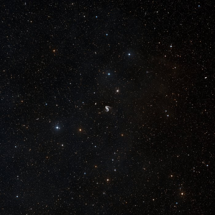 Wide-field view of the sky around the Meathook galaxy