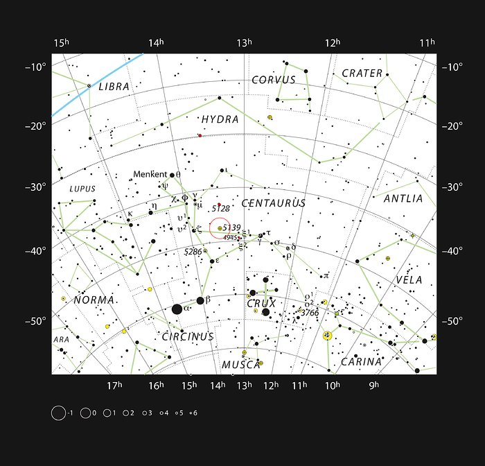 The globular star cluster Omega Centauri in the constellation of Centaurus