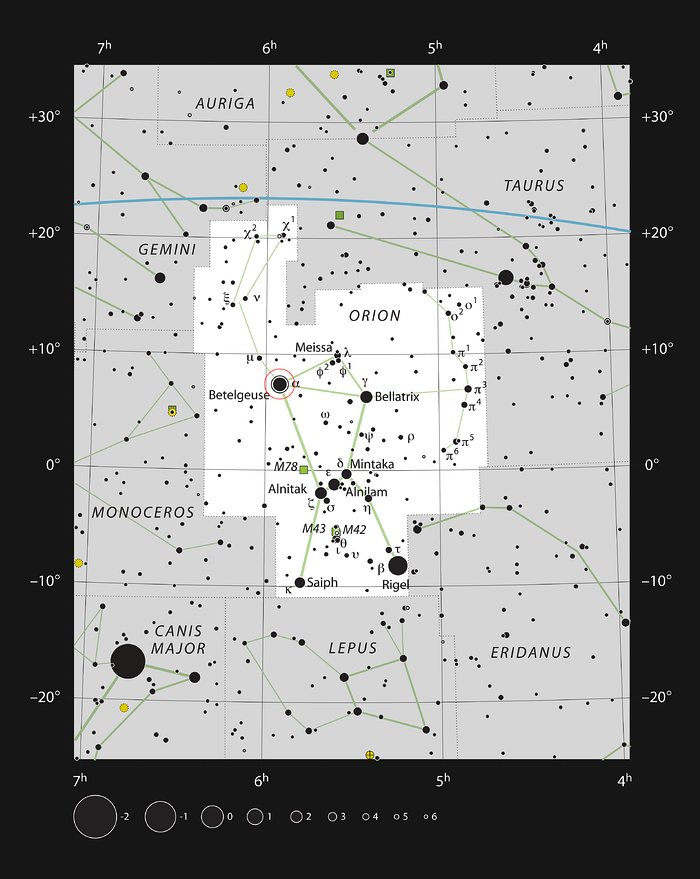 The star Betelgeuse in the constellation of Orion