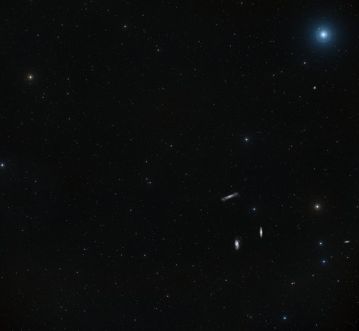 Wide-field view of the sky around the Leo Triplet of galaxies