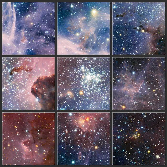 Excerpts from VLT image of the Carina Nebula in infrared light