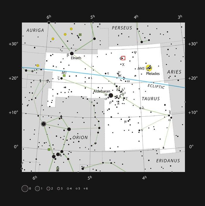 Aufsuchkarte für Barnard 211 und 213 im Sternbild Stier