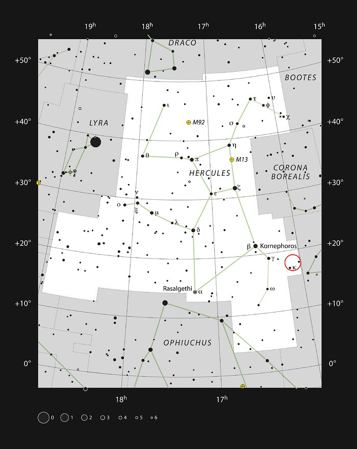 The location of the Hercules galaxy cluster