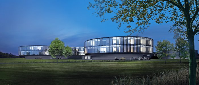 Arkkitehdin havainnekuva uudesta ESO:n päämajan laajennuksesta (pimeään aikaan)