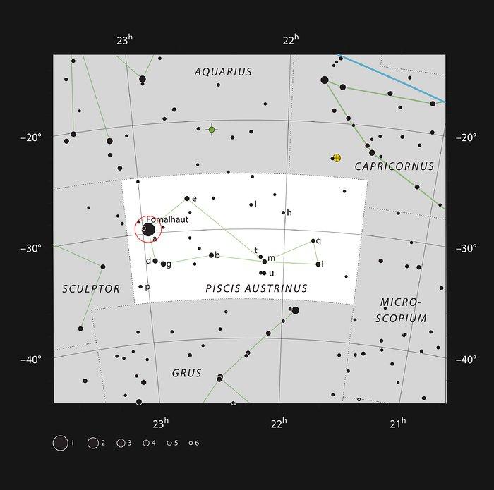 La brillante stella Fomalhaut nella costellazione del Pesce Australe