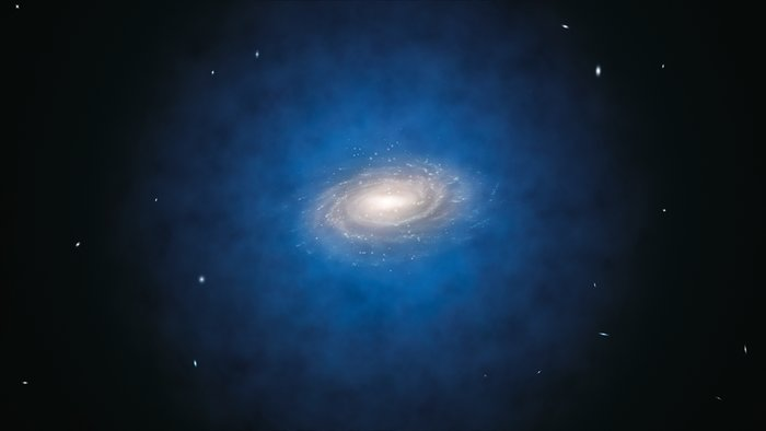 Artist's impression of the expected dark matter distribution around the Milky Way