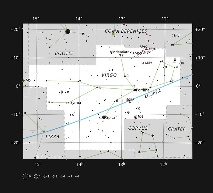 Die Position des Quasars 3C 279 im Sternbild Jungfrau