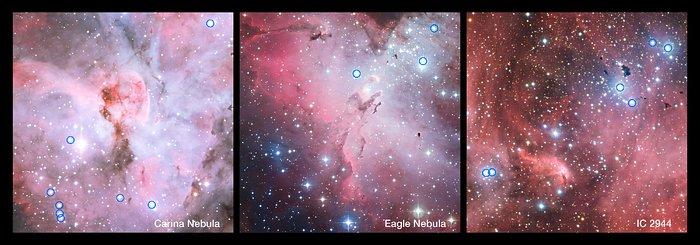 Heta och starkt lysande O-stjärnor där nya stjärnor bildas