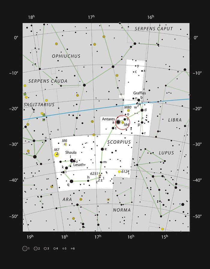 The globular star cluster Messier 4 in the constellation of Scorpius