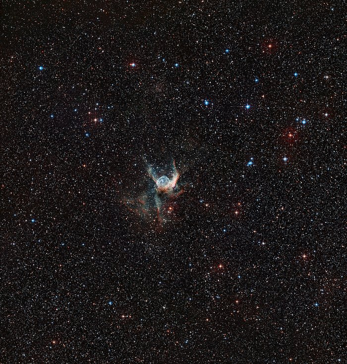 Wide-field view of the sky around the Thor's Helmet Nebula