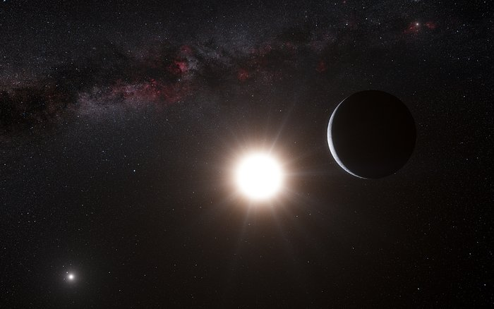 Rappresentazione artistica del pianeta in orbita intorno a Alfa Centauri B