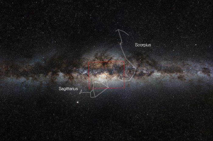 Visión de amplio campo de la Vía Láctea, en la que se aprecia el tamaño de una imagen gigapíxel de VISTA