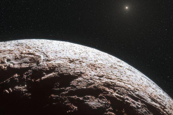 Artist's impression van het oppervlak van de dwergplaneet Makemake