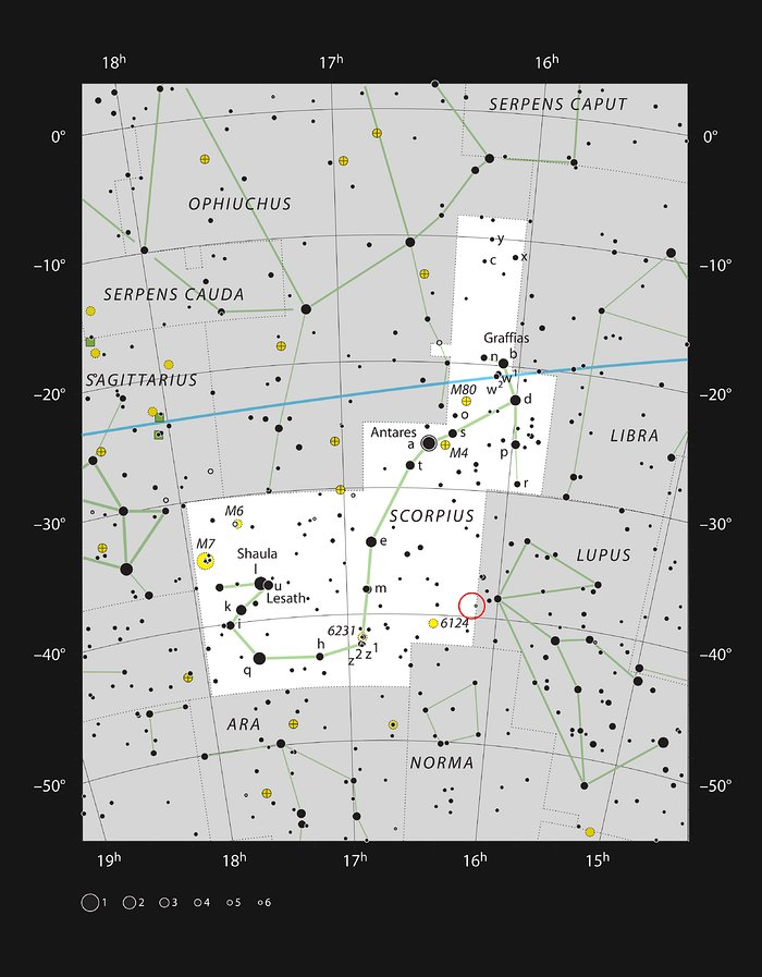 A nuvem escura Lupus 3 na constelação do Escorpião