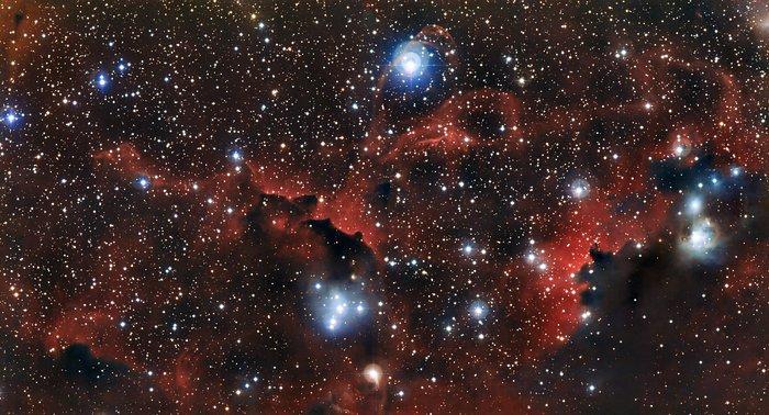 Zářící oblak Sharpless 2-296, část mlhoviny Racek