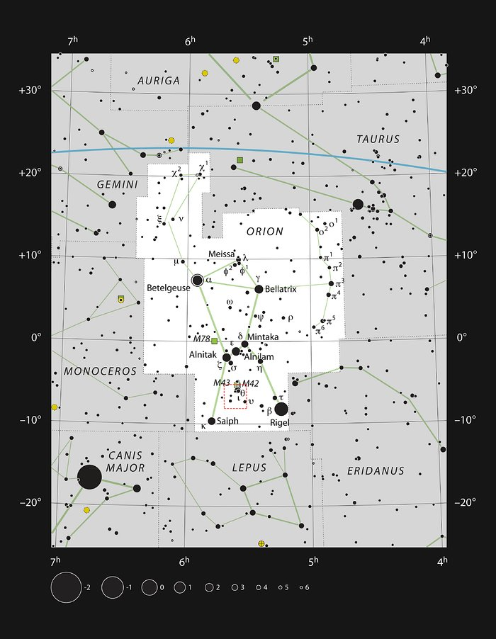 The constellation of Orion showing the region shown in a new APEX image