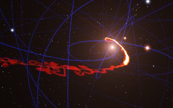 Simulation of gas cloud being ripped apart by the black hole at the centre of the Milky Way