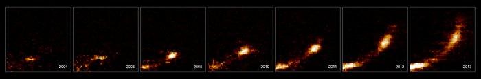 Imágenes de una nube de gas desgarrada por el agujero negro del centro de la galaxia