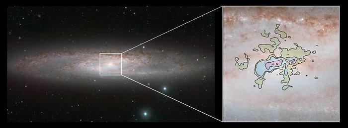 Het starburststelsel NGC 253, zoals gezien met VISTA en ALMA