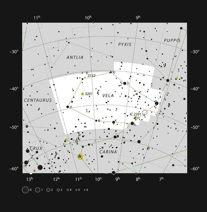 Posisjonen til Herbig-Haro-objektet HH 46/47 i stjernebildet Seilet
