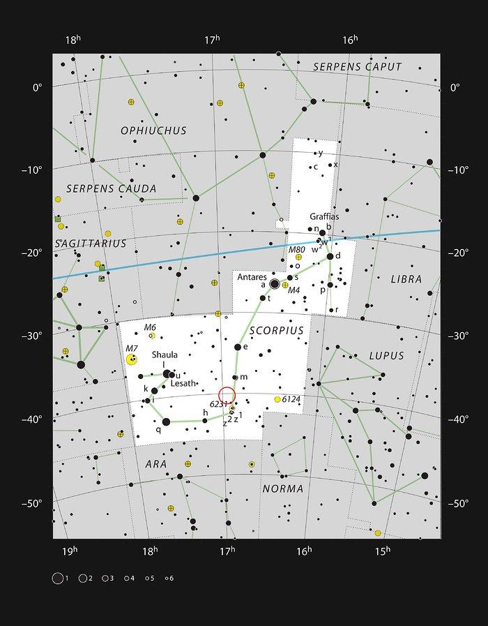 Der Garnelennebel IC 4628 im Sternbild Scorpius (der Skorpion)