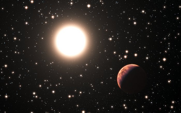 Artist's impression van een exoplaneet die om een ster van de sterrenhoop Messier 67 cirkelt