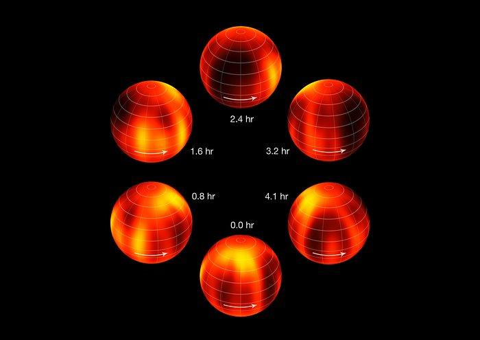 Aus Beobachtungen mit dem VLT rekonstruierte Oberflächenkarte von Luhman 16B (beschriftet)