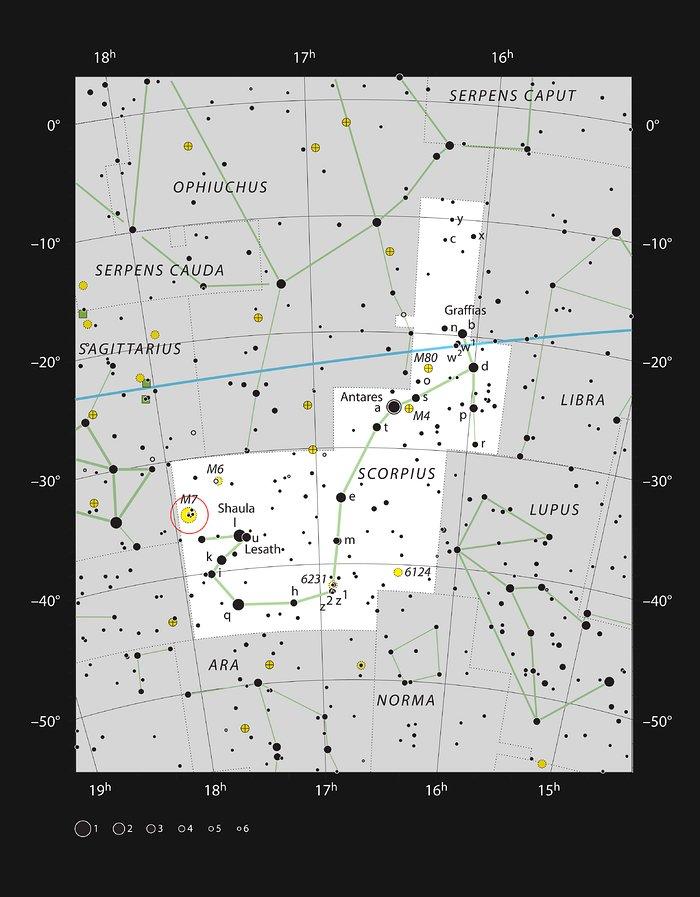 O brilhante enxame estelar Messier 7 na constelação do Escorpião