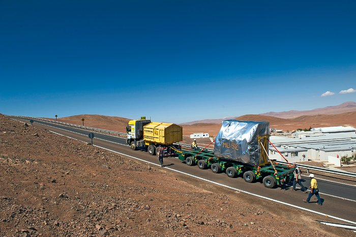 The MUSE instrument makes the final ascent to the Very Large Telescope at ESO's Paranal Observatory