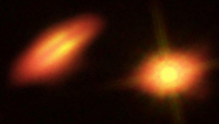 Imagens compostas da HK Tauri criadas a partir de dados Hubble e ALMA
