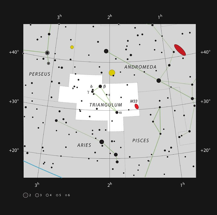 Messier 33 in the northern constellation of Triangulum