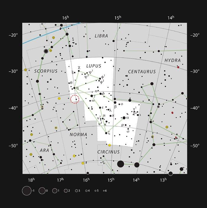 De positie van het donkere wolk Lupus 4 in het sterrenbeeld Wolf
