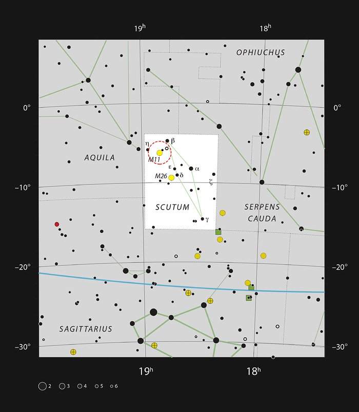 The open cluster Messier 11 in the constellation of Scutum