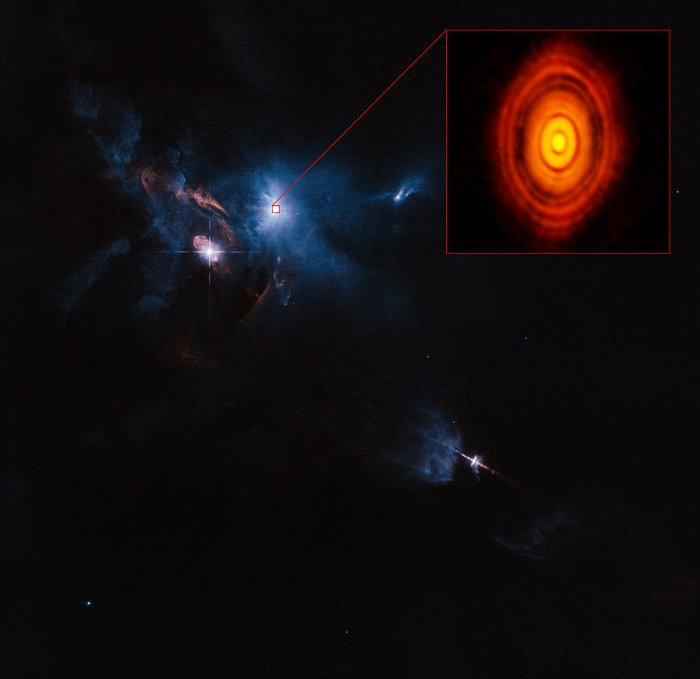ALMA/Hubble composite image of the region around the young star HL Tauri
