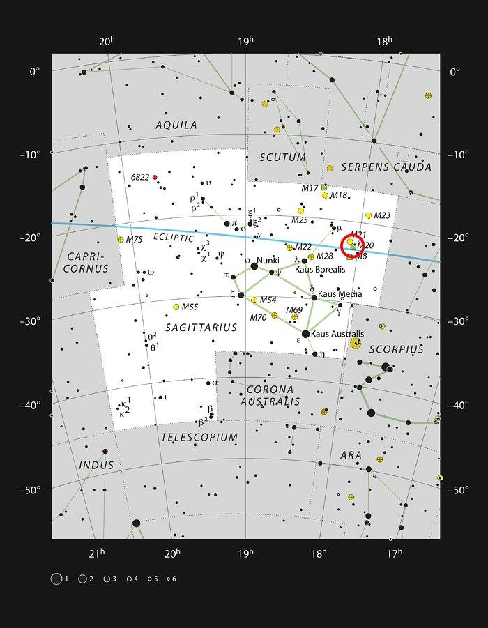 La Nebulosa Trifida nella costellazione del Sagittario
