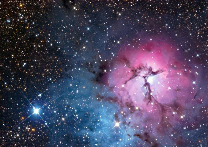 La nebulosa Trífida en luz visible