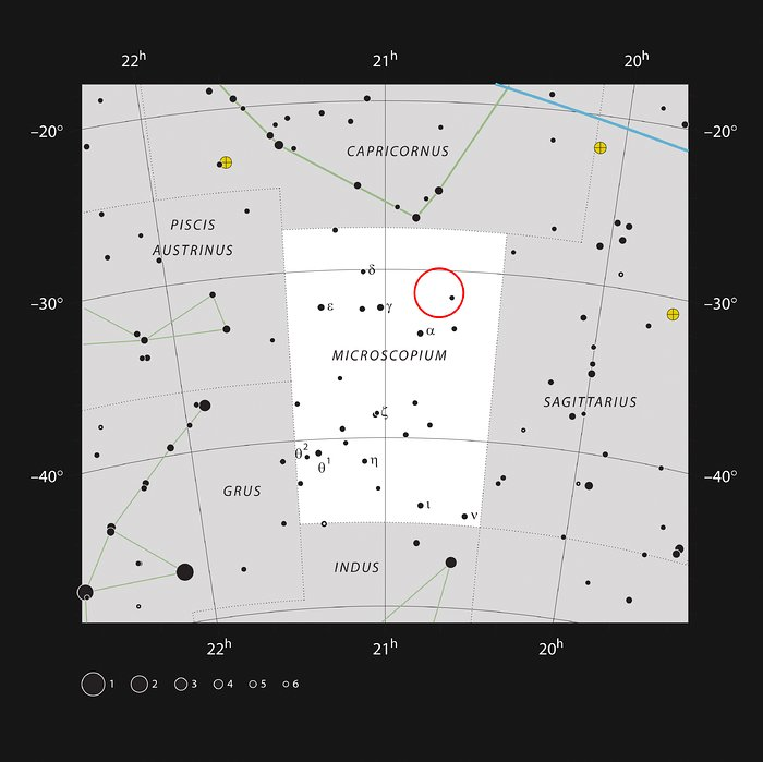 The star AU Mic in the constellation of Microscopium