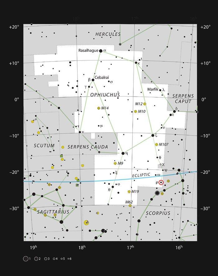 Het Rho Ophiuchi-stervormingsgebied in het sterrenbeeld Slangendrager