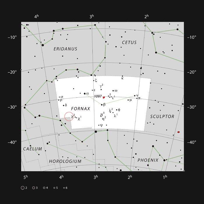 Poloha kupy galaxií Fornax na obloze