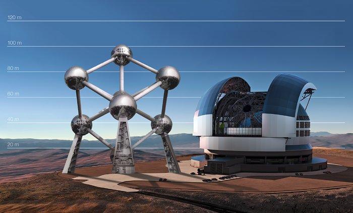 L'E-ELT comparé à l'Atomium à Bruxelles, Belgique