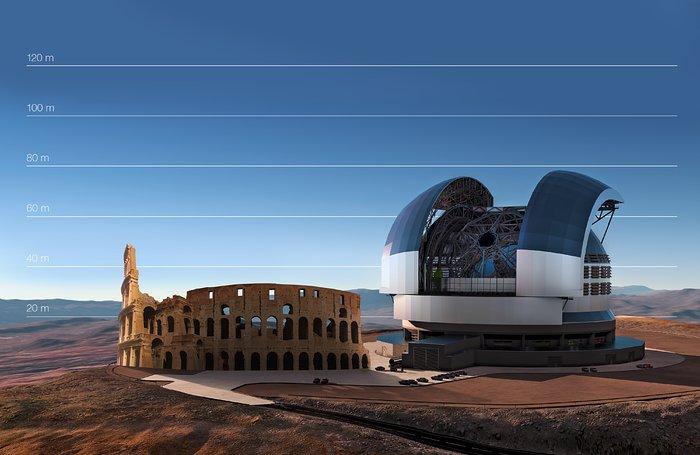 E-ELT sammenlignet med Colosseum i Roma i Italia