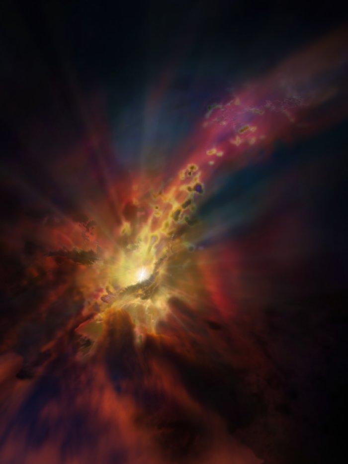"""El parte meteorológico cósmico, como se ilustra en esta concepción artística, pronostica una condensación de nubes de gas molecular frío alrededor del cúmulo de galaxias más brillante, Abell 2597. Las nubes se condensan a partir del gas caliente e ionizado que ocupa el espacio entre las galaxias de este cúmulo. Nuevos datos de ALMA muestran que la """"lluvia"""" de estas nubes se precipita sobre la galaxia, cayendo hacia el agujero negro supermasivo situado en su centro."""