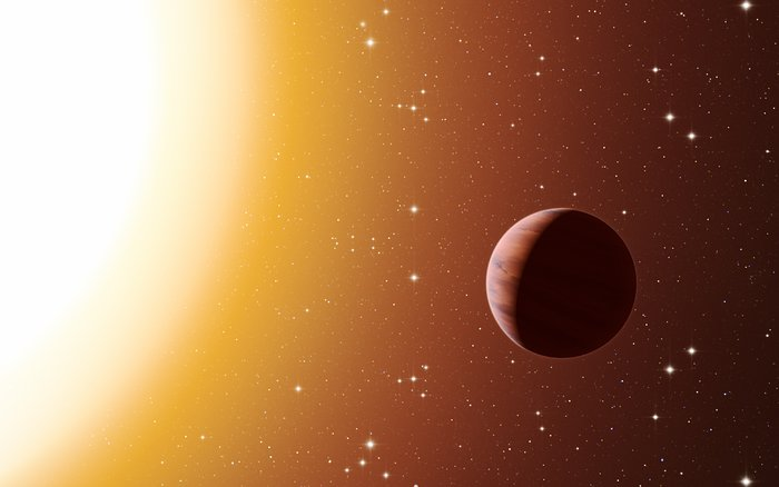 Artist's impression van een hete Jupiter in de sterrenhoop Messier 67