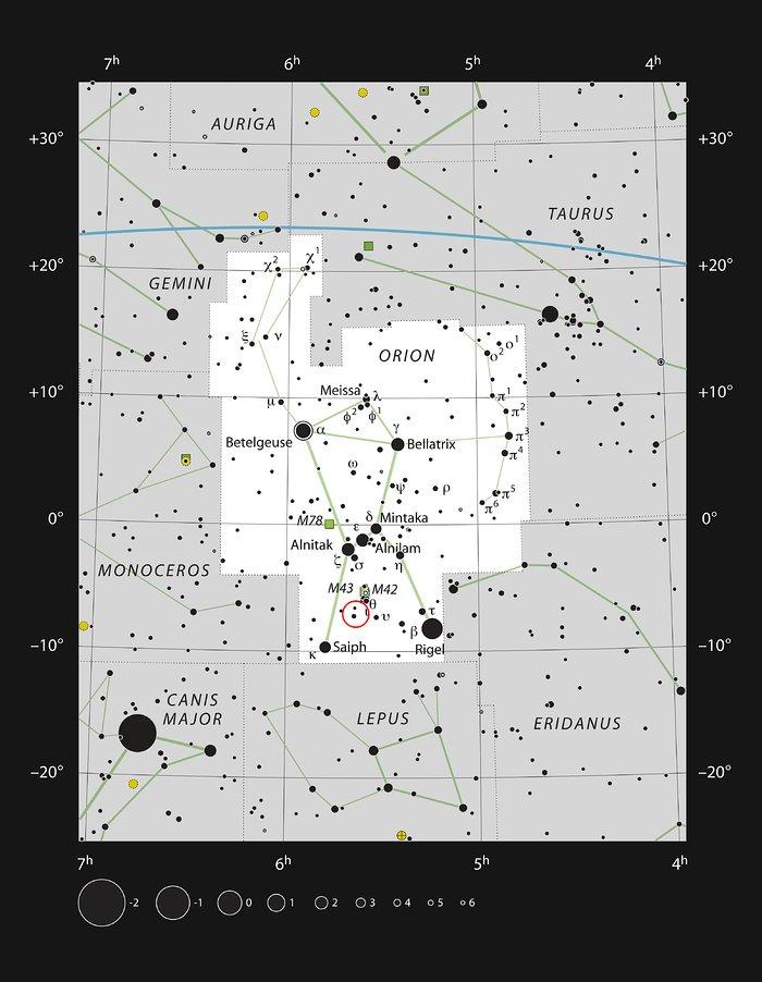 La estrella V883 Orionis en la constelación de Orión