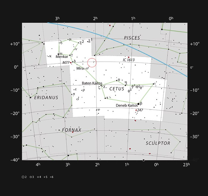 The location of the galaxy Markarian 1018 in the constellation of Cetus