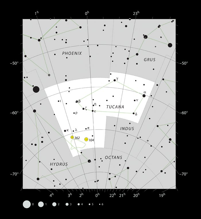 The location of the Small Magellanic Cloud in the constellation of Tucana